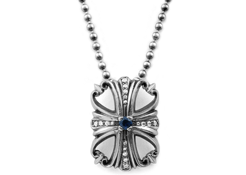 Dainty Morphine Ferry Pendant Brim Pave Diamonds and Lonely Sapphire Center