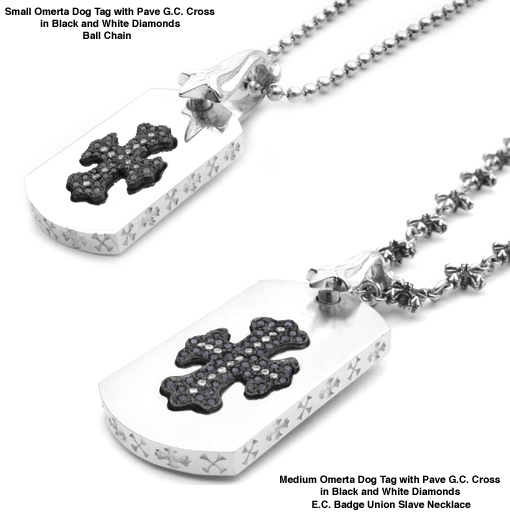 Omerta Dog Tags with Pave G.C. Cross in Black Diamonds