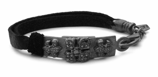 Tiny Waldorf Fleurs & E.C. Cross Pave Black Diamonds Leather Bracelet