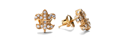 Dainty Fleur Earrings 18K Yellow Gold with Diamonds