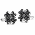 Medium O.G. & N.C. Badge Cufflinks Diamond Centers and Pave Black Diamond