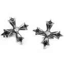 Large N.C. Badge Cufflinks Diamond Centers Black Diamond Tips