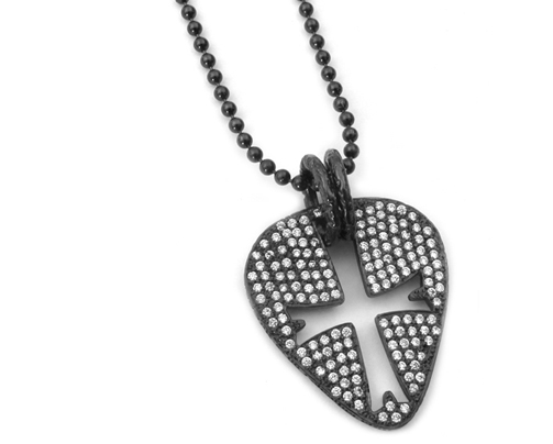 Black Guitar Pick Pendant 18K Black Gold Pave Diamonds