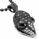 Bird Skull Pendant Pave Black Diamonds