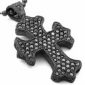 Medium G.C. Cross Pendant Pave Black Diamonds
