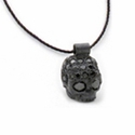 Small Skull Pendant Pave Black Diamonds on a Cord