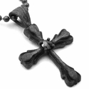True S.A. Cross Pendant Rose Cut Black Diamond Center