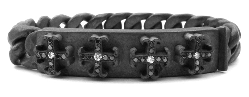 Medium O.G. Cross Quartet Bracelet Diamond Centers & Black Diamond Tips