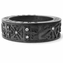 Ricketts Yard Black Silver Band with Diamonds