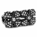 Duple E.C. Cross Ring 18K Black Gold with Diamonds