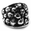 Chris James Catacomb 13 Skull Ring with Black & White Diamonds