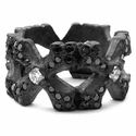N.C. Cross Borderless Envelop Ring with Black Diamonds