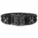 Dont Fuck Around Braided Leather Bracelet with Pave Black Diamonds
