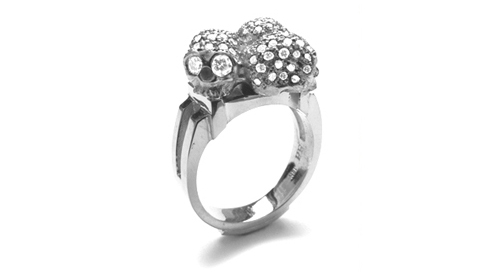 Morphine Threesome Ring 18K White Gold with Pave Diamonds