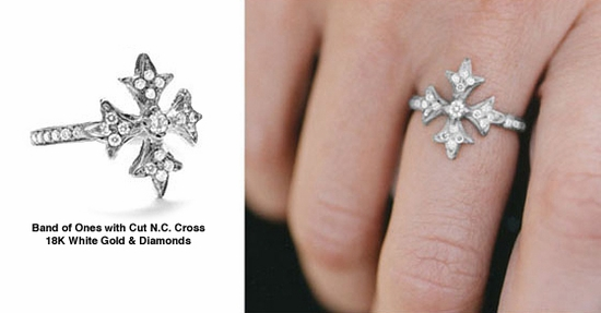 Band of Ones Cut N.C. Cross Ring White Gold