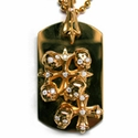 Large Dog Tag Skulls & N.C. Crosses 18K Gold with Full Set Diamonds