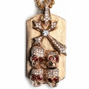 Large Dog Tag 18K Rose Gold True N.C. Cross Skulls Diamonds & Rubies