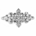 Tiny Trinity Tawdry Fleur 18K White Gold Ring