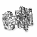 Trinity Turgid Fleur Band 18K White Gold Pave Diamonds with Brim Pave Black Diamonds