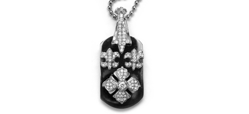 Small E.C. Dog Tag with Tiny Fleurs 18K Gold with Full Pave Diamonds
