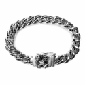 Dainty Quaker Links Bracelet with Pave Black Diamonds