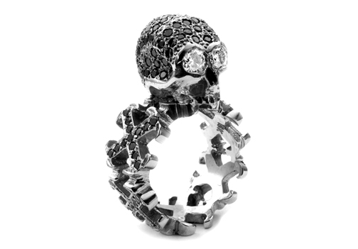 Dainty O.G. Cross Borderless Envelop Ring Dont Fuck Around Skull Black Diamonds