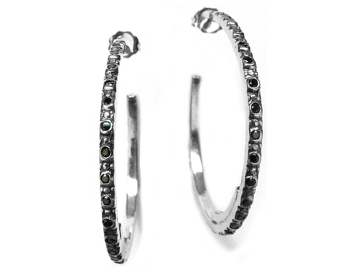 Camorra Hoop Black Diamond Earrings