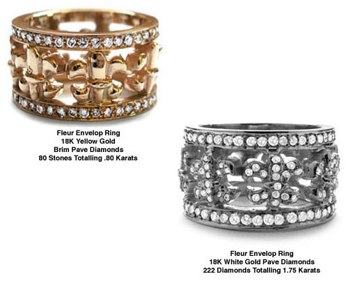 Fleur Envelop Rings 18K Yellow and White Gold Full Diamonds