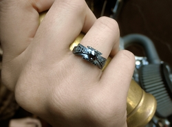N.C. Dainty Band with Black Diamonds