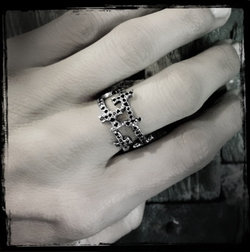 Capo Cross Ring with Pave Black Diamonds