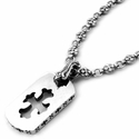Medium Omerta G.C. Cross Dog Tag with Dainty Button Union Slave Necklace