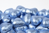 Pastel Blue Foiled Milk Chocolate Hearts (25 Pound Case)