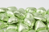 Leaf Green Foiled Milk Chocolate Hearts (25 Pound Case)