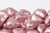 Light Pink Foiled Milk Chocolate Hearts (10 Pound Case)