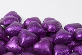 Purple Foiled Milk Chocolate Hearts (10 Pound Case)
