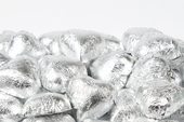 Silver Foiled Milk Chocolate Hearts (25 Pound Case)