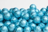 Caribbean Blue Foiled Milk Chocolate Balls (25 Pound Case)