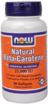 Natural Beta Carotene Supplement - 90 Softgels, NOW Foods