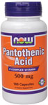 Pantothenic Acid Vitamin B5 500 mg - 100 Capsules, NOW Foods