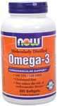 Omega-3 from 1000 mg of Fish Oil Concentrate - 200 Softgels, NOW Foods
