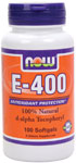 Vitamin E 400 IU - d-Alpha Tocopheryl Acetate - 100 Gels, NOW Foods