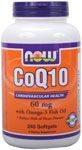 CoQ10 60 mg w/Omega 3 Fish Oils - 240 Gels, NOW Foods
