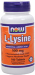 L-Lysine 500 mg - 100 Tabs, NOW Foods