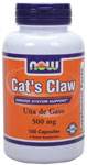 Cat's Claw 500 mg - 100 Capsules, NOW Foods
