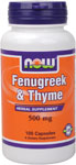 Fenugreek & Thyme 500 mg - 100 Capsules, NOW Foods