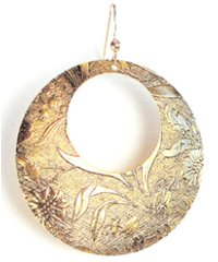 Kipepeo Lily FIligree Round Disc Earrings  (Gold or Silver)