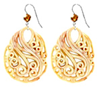 Tarina Tarantino Ivory Carved Lucite Disc Earrings