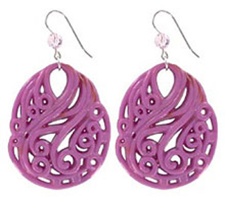 Tarina Tarantino Lavender Carved Lucite Disc Earrings