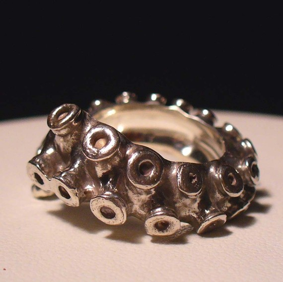 Octopus Tentacle Sterling Silver Ring