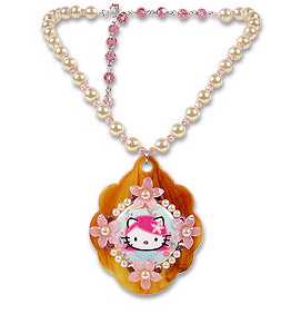 Tarina Tarantino Pink Vintage Style Collage Pendant on Pearls
